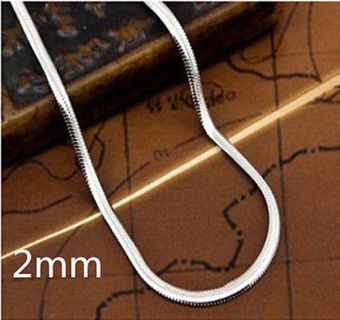 """Hot Sale 925 Sterling Silver Flat Snake Chain Necklace Size 16""""-30""""inch"""