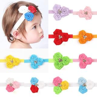 Kids Infant Baby Girl Korean Three Flowers Rose Headband Headwear Hair Band