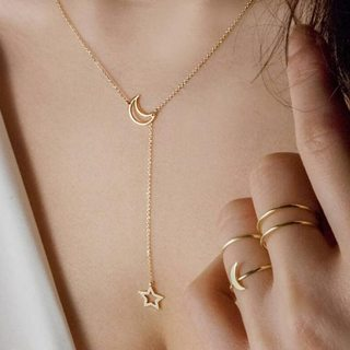 Simple Hollow Star Moon Pendant Chain Gold Silver Necklace Women Party Wedding Jewelry Accessories