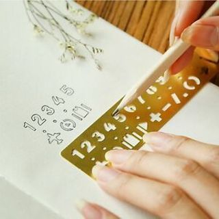 Sells Graffiti Template Brass Stationery Numbers&letters Hollow Ruler Bookmark