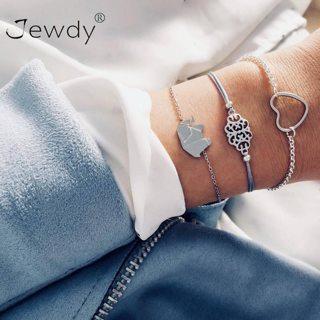 3 Pcs/set Elephant LOVE Heart Hollow Pattern Multilayer Bracelets for Women Stretch Bangle Boho
