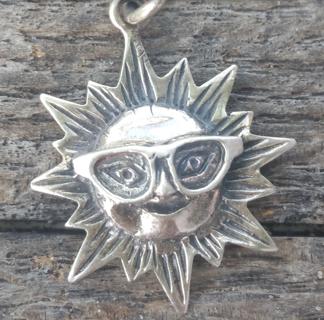 Vintage  .925  Silver  ~ Smiling Sun ~ necklace pendant