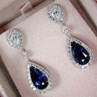 Blue Sapphire Drop Dangle Earrings Fashion Jewelry