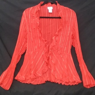 Candy Apple Red Ruffle Tie Waist Bell Sleeve Blouse Womens M **Gorgeous**