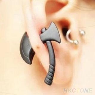 1pc Rock/Punk Cool Black Ax/Hatchet Impalement Mens or Womens Stud Earring