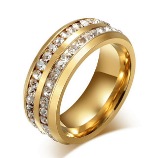 8MM Couple Full Crystal Sapphire Engagement Wedding Band Ring Gold Size7