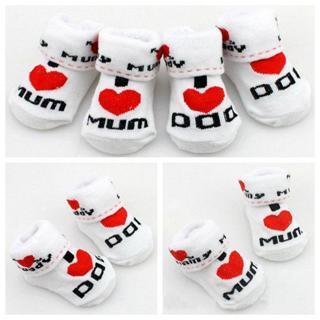 2019 100% cotton Baby socks slip-resistant floor socks love dad love mum cartoon small kid's socks