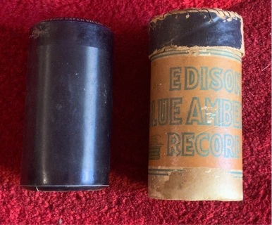Antique Edison Blue Amber Cylinder Record In Case