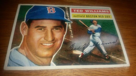 1956 Topps Baseball Ted Williams #5 Boston Red Sox,VG condition,free shipping!