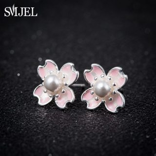 SMJEL Romantic Pink Cherry Blossom Pearl Stamens Flower Stud Earrings for Women Handmade Wedding