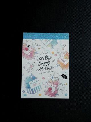 "Q-Lia '2019'~""Melty Sugar Milkys""Mini Memo Pad **New Release!!** ☆Kawaii Bonus☆"