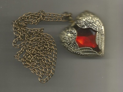 """1 Long Brass Chain - 30"""" with About 1"""" Pendant Heart Enclosed by Wings - Open Heart work on Back"""