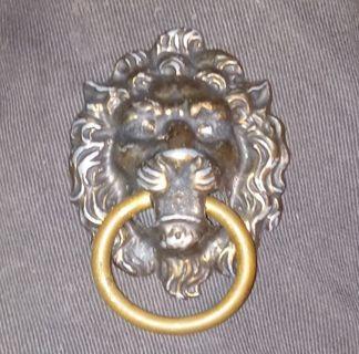 Antique lion drawer pull