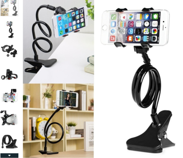 FREE NEW BLACK UNIVERSAL FLEXIBLE ADJUSTABLE CELL PHONE HOLDER STAND MOUNT for desk, car, couch!