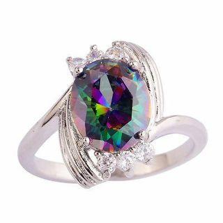 Rainbow White Oval Gemstones Fashion Women Men Silver Ring Size 6 7 8 9 10 11 12