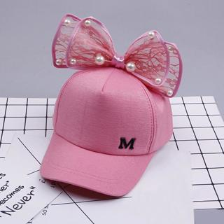Cute Pearl Bongrace Hat Baby girl cute bowknot corner baseball cap child rebound summer adjustable