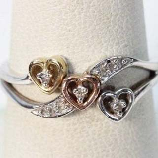 Zales 10k Diamond Heart Tri Gold Ring