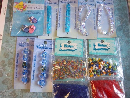 NEW - Fun Lot of 11 packages of Glass Beads and Clay Charms JEWELRY Making/Crafting FREE SHIPPING