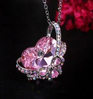 *´`* Lovely Pink Crystal Rhinestone Heart Bowtie Necklace -NEW