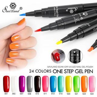 Saviland 3 In 1 One Step Gel Varnish Pen Nail Gel Polish Special Design Pencil