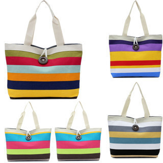 Women Colorful Shopping Bag Beach Canvas Shoulder Handbag