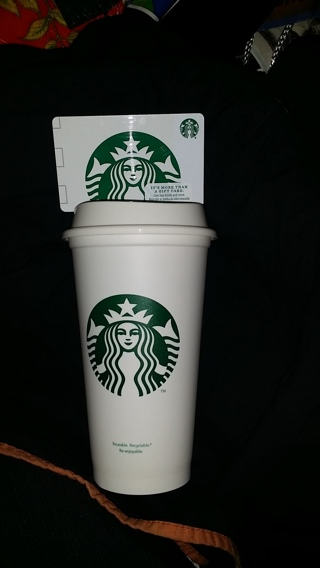 New Starbucks Coffee Cup n Lid Plus (Possible Matching Gift Card w/$5 added only wGIN) Free Shipping