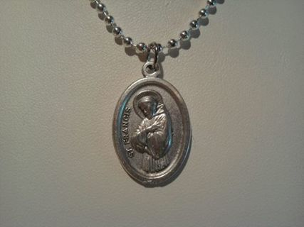 ~ST FRANCIS MEDALLION~COMES WITH FREE SILVER PLATE CHAIN~NEW~CATHOLIC~