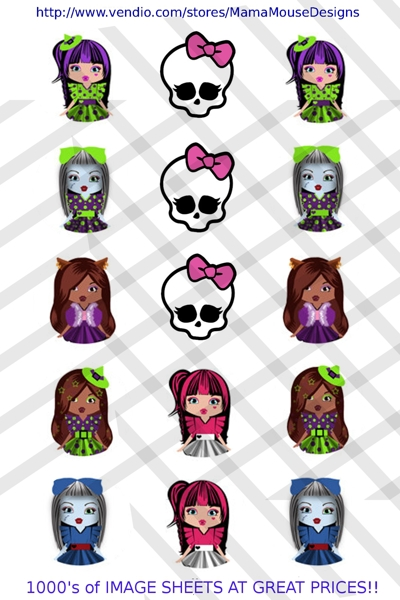 Free Monster High Doll Inspired Bottle Cap Digital Image