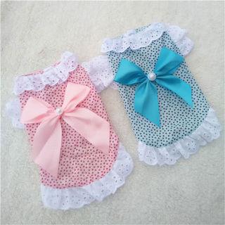 Summer Small Pet Bowknot Puppy Dog Dress Vest Princess Shirt Dog Cat Lace Skirt