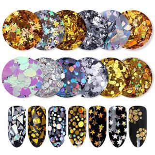 Holographic Nail Glitter Sequins AB Color Nail Art Flakies Paillette Manicure