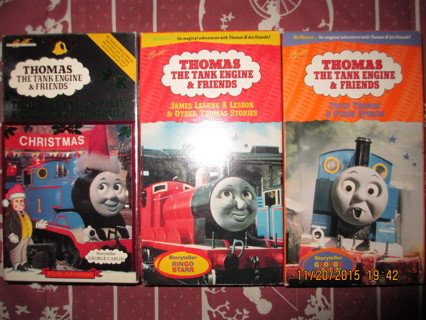 3 THOMAS THE TANK ENGINE FRIENDS VHS TAPESCHRISTMAS PARTYMISSING TREE