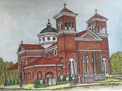 "BEAUTIFUL CATHEDRAL - 5 x 7"" art card by artist Nina Struthers - GIN ONLY"