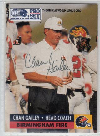 1991 Pro Set WLAF Chan Gailey autograph card