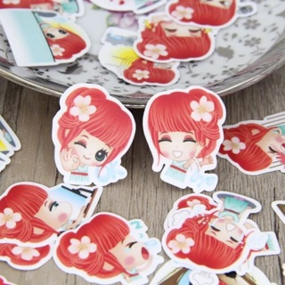 ❮✧ Red Haired Ginger Cutie Kawaii High End Sticker Flakes Set of 10 BRAND NEW ✧❯