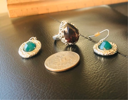 (x2).925 Silver Beautiful Pieces Of Jewelry! Size 5 Red Garnet Ring & Margo Morrison Earrings!