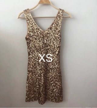Fitted Gold Sequin Mini Dress • XS • Excellent • Free Shipping