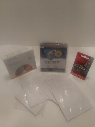 VIPRE Internet Security Protection, SanDisk 32GB Flash Drive & Memorex DVD-R 5PK, 10 CD Sleeves