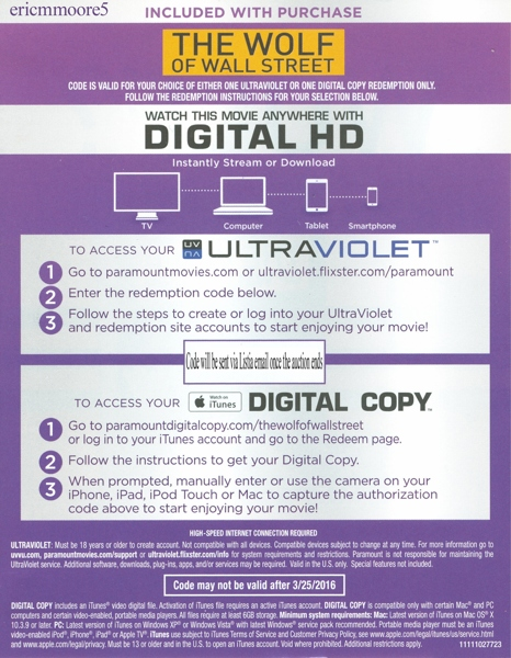 Free The Wolf Of Wall Street Ultraviolet Code From Blu Ray Other Dvds Movies Listia