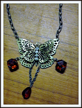 Get This cute butterfly necklace made from reclaimed vintage materials Now
