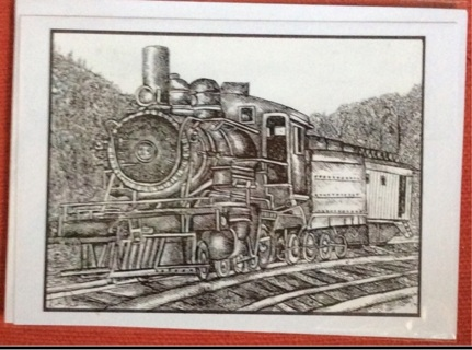 """LOCOMOTIVE!  - 5 x 7"""" art card by artist Nina Struthers - GIN ONLY"""