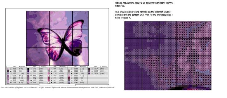 Purple Butterfly Cross Stitch Pattern