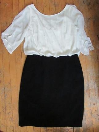 NWT- SZ 12 $89 EVAN PICONE DRESS- BLACK & WHITE W/ PEARL ACCENTS & BACK COWL NECK