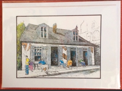 "JEAN LA FITTE TAVERN, French Quarter NOLA/ 5 x 7"" art card by artist Nina Struthers - GIN ONLY"