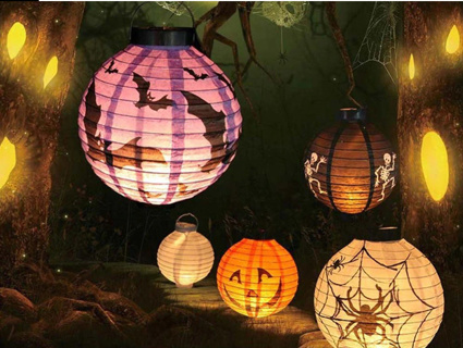 4pcs Halloween Decoration Led Paper Pumpkin Light Lantern Haloween DIY Hanging Spider Skull