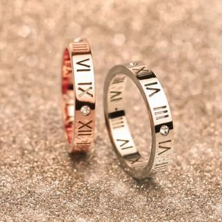 Roman Numerals Rhinestone Titanium Stainless Steel Band Ring 4mm Width