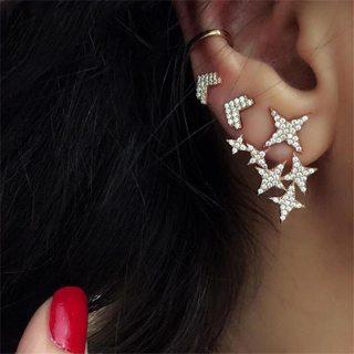 3 Pcs / Set Women Fashion Retro Crystal Arrow Stars Hanging Earrings Shine Ladies Gold Square Ear