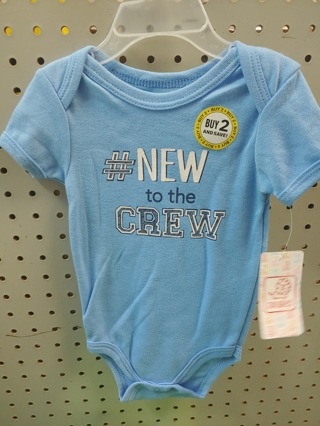 NEW! NEW TO THE CREW ONESIE 6/9MTH