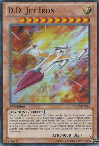 1st Edition Super Rare D.D. Jet Iron Yugioh card + Cover