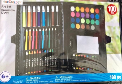 Brand New: 100 pc CREATOLOGY Art Set! Paint, Brushes, Markers, Colored Pencils....