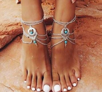 NEW Turquoise Beads Anklet Set Tassels Silver Chain Barefoot Ankle Bracelet FREE SHIPPING
